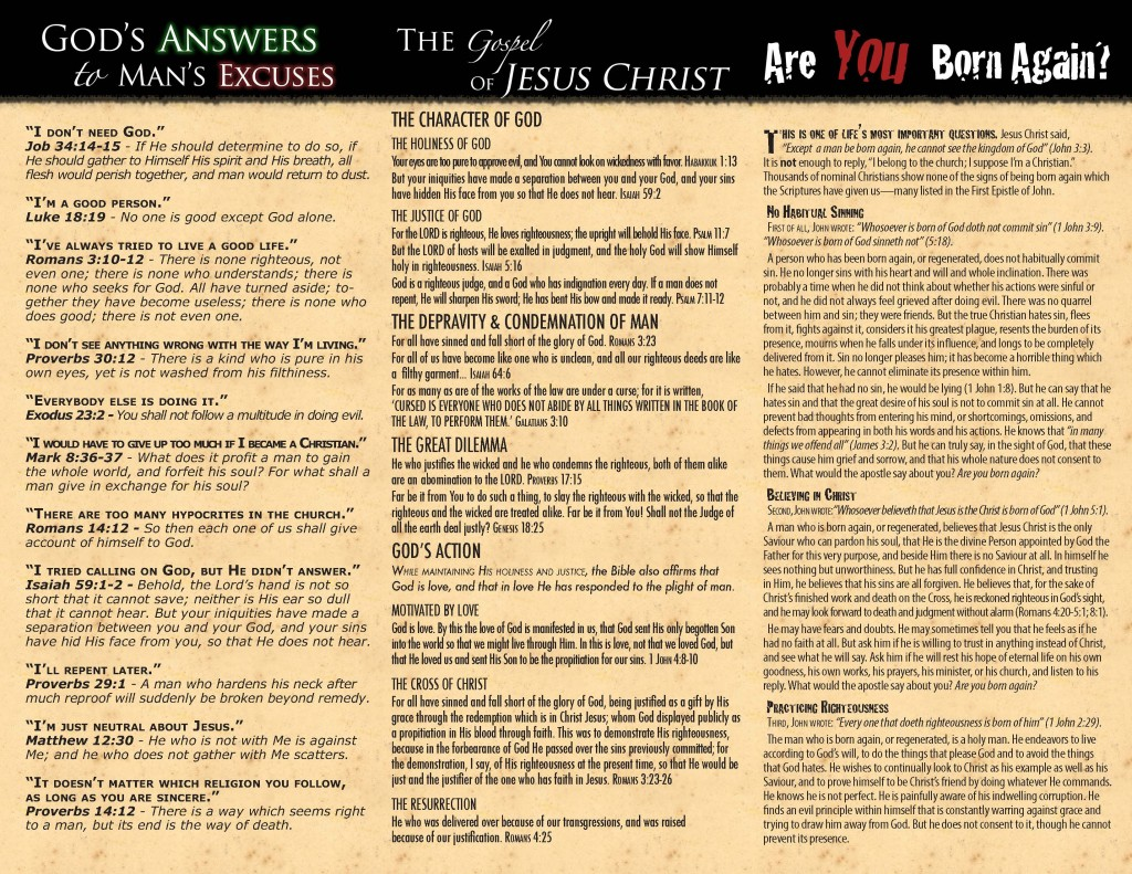 3 x Free Gospel Tracts - God's Answers | The Gospel | Are You Born